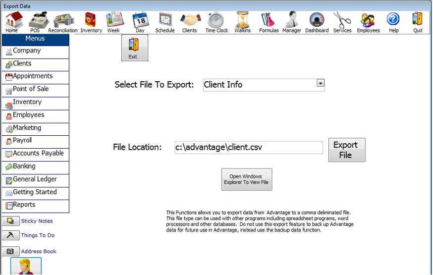 Export data in salon software