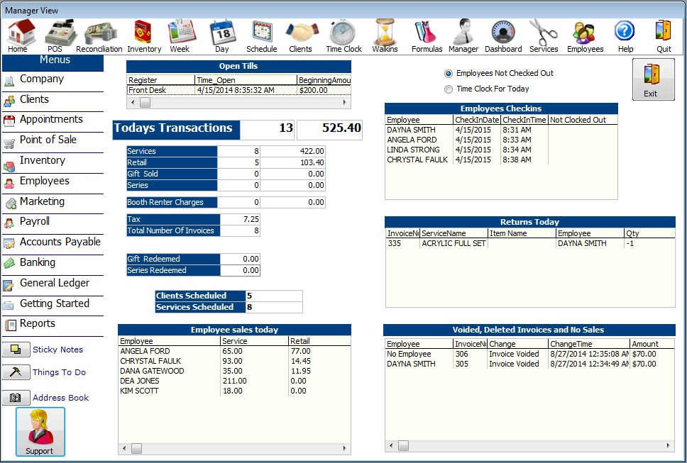 Manager view screen in Advantage Salon Software